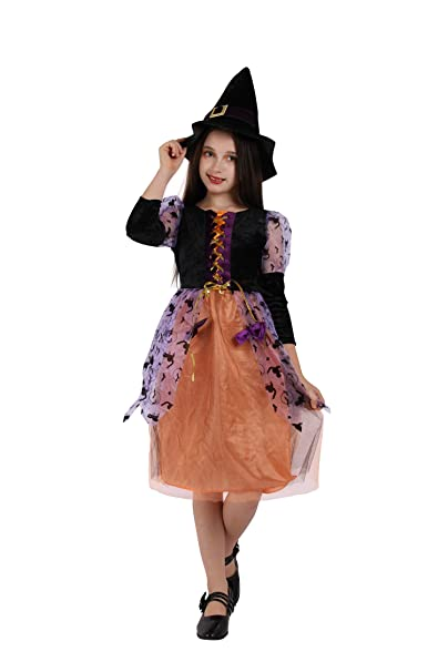 Girls Kids Child\u0027s Witch Costume Halloween Dress Purple Witch Glamour Queen  Deluxe Set