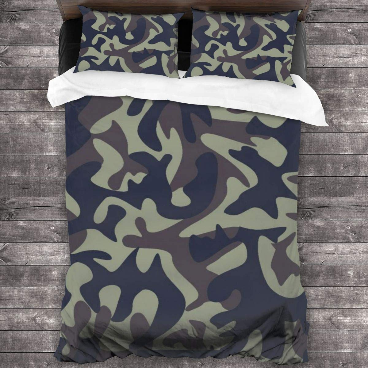 """ACHOGI Twin Size Digital Multicam Print Bedding Duvet Cover 3 Piece Set Soft and Breathable with Zipper Closure & Corner Ties 86""""x70"""""""