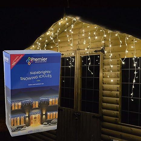 Snowing Christmas Lights.Premier 240 Warm White Supabright Snowing Icicle Led Christmas Lights