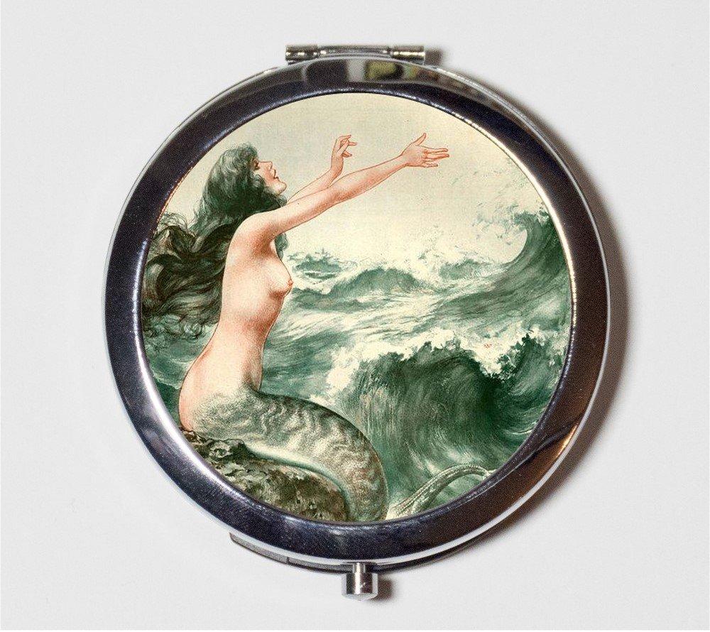 French Mermaid Compact Mirror Parisian Nautical Art Nouveau Deco Make Up Pocket Mirror for Cosmetics
