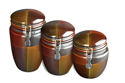 Amazon.com: Gibson Convergence 3-Piece Reactive Stoneware Canister ...