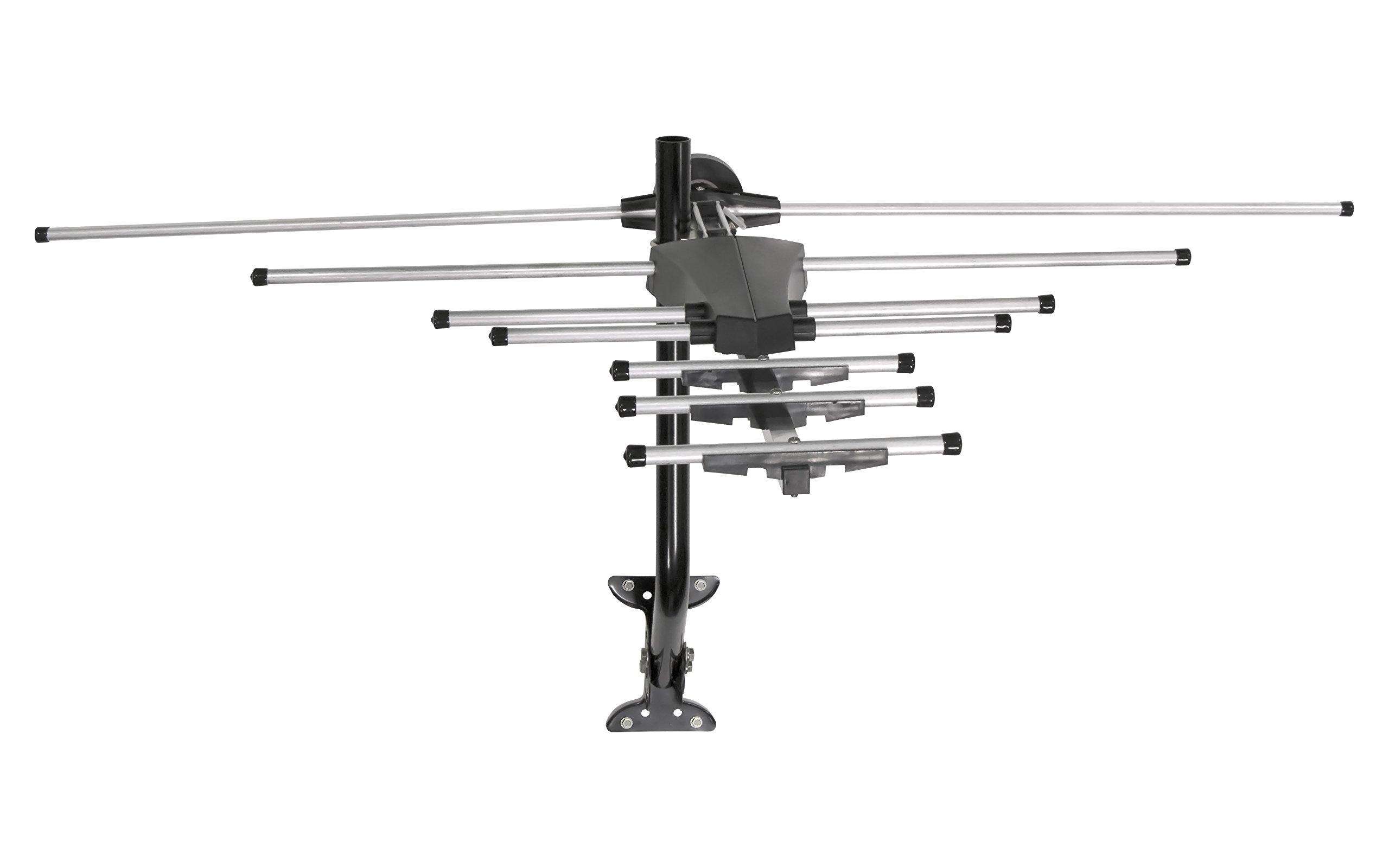 GE 33685 Pro Outdoor Yagi TV Antenna with Mount - 70 Mile Long Range HDTV Antenna - VHF/UHF Channels - Long Range - Optimized for FULLHD 1080p and 4K Ready