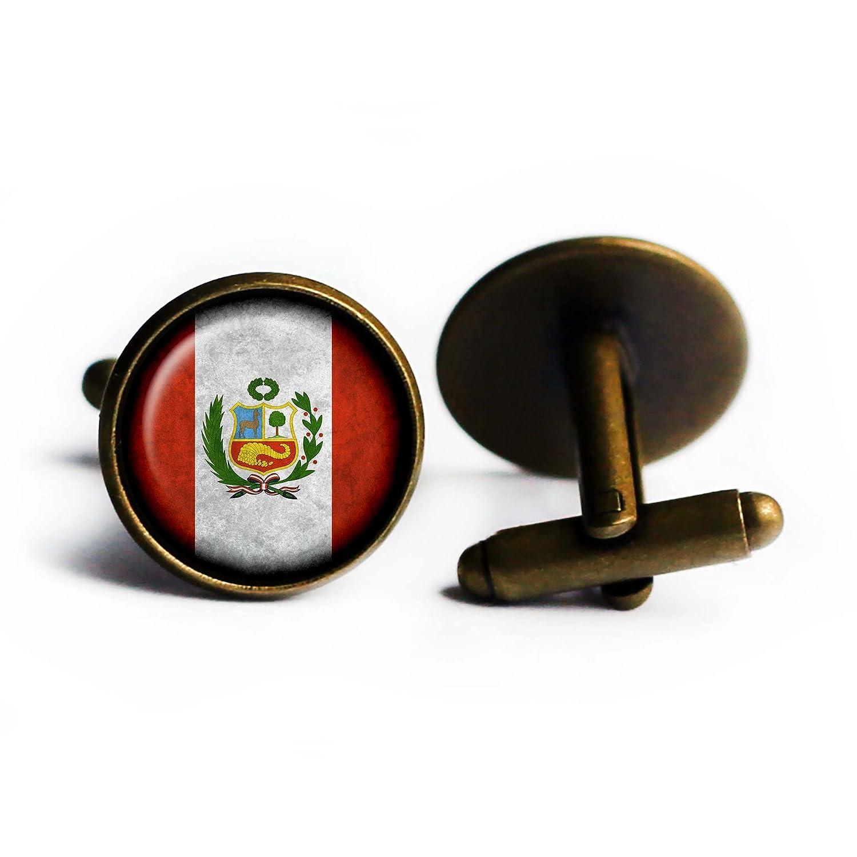 Peru Peruvian Flag Bronze Cufflinks
