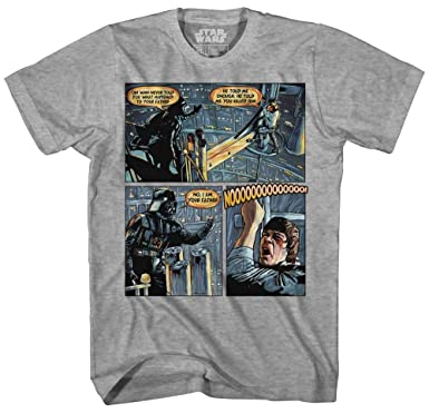 fd0661ada Darth Vader Luke Skywalker I Am Your Father Comic Strip Mens Adult Graphic Tee  T-