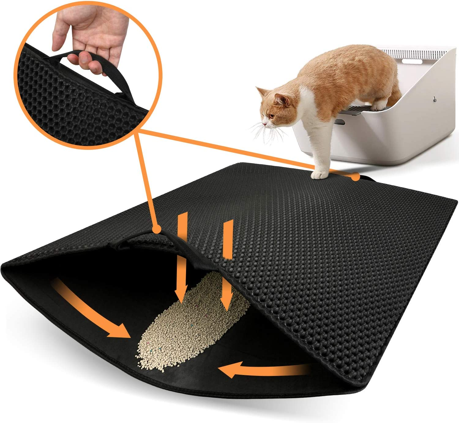 "Polarduck Cat Litter Mat, 32"" X 25"", Cat Litter Trapping Mat Extra Large, Honeycomb Double Layer Design, Urine and Water Proof Material, Special Side Handles Design Easier to Clean, Washable"