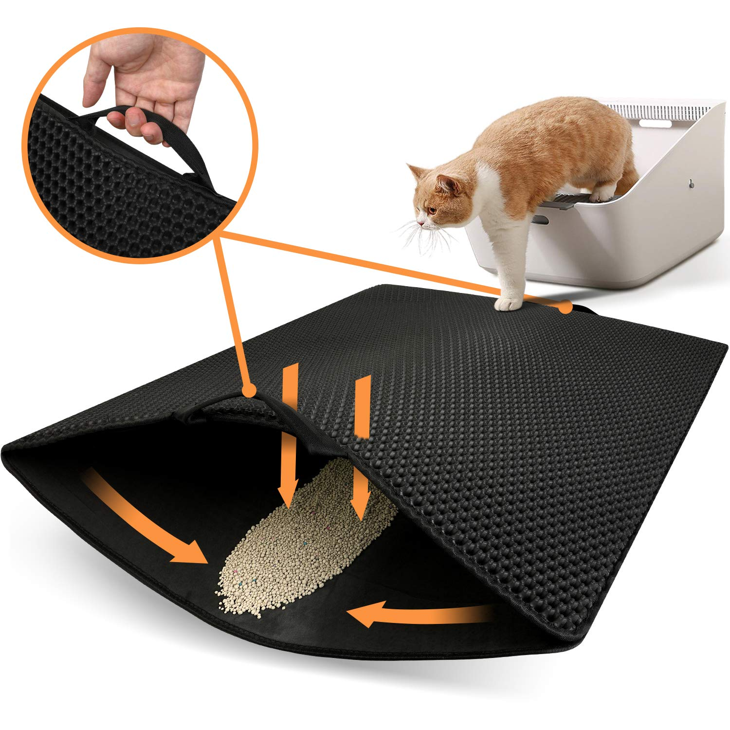 Polarduck Cat Litter Mat, 32'' X 25'', Cat Litter Trapping Mat Extra Large, Honeycomb Double Layer Design, Urine and Water Proof Material, Special Side Handles Design Easier to Clean, Washable by Polarduck