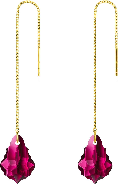FANZE Pendientes largos barrocos de la diapositiva de la gota de las mujeres hechas con el cristal de Swarovski