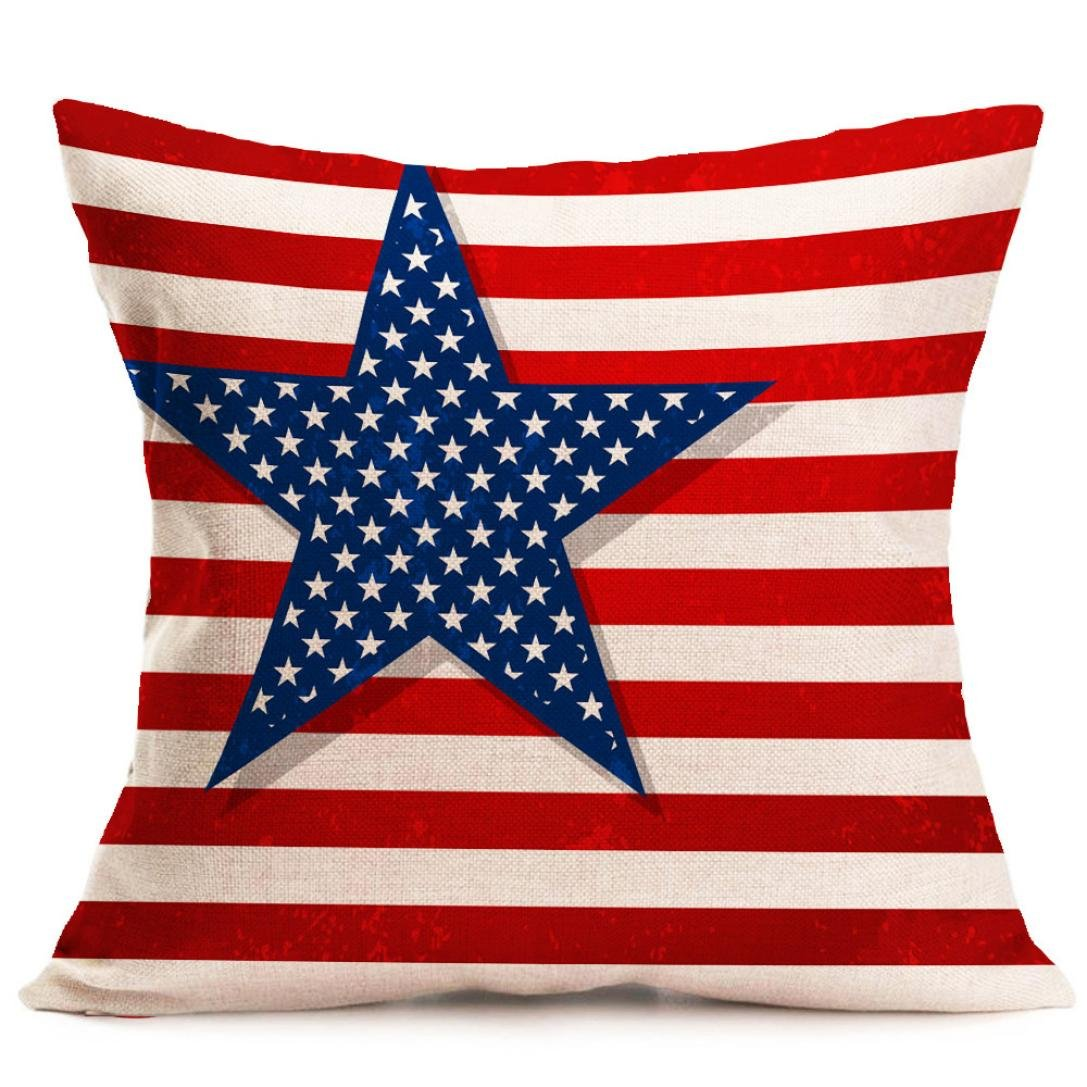 Pillow Cases,IEason Hot Sale! Vintage American Flag Pillow Cases Linen Sofa Cushion Cover Home Decor (A)