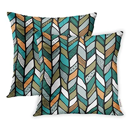 Peachy Emvency Pack Of 2 Throw Pillow Covers Print Polyester Zippered Pillowcase Blue Abstract Tribal Style Braided Ethnic Chevron Multicolor Braid Lines Beatyapartments Chair Design Images Beatyapartmentscom