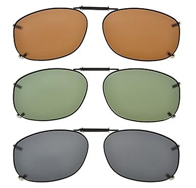 4515c94289e Eyekepper Metal Frame Rim Polarized Lens Clip On Sunglasses 54   37MM   Amazon.co.uk  Clothing