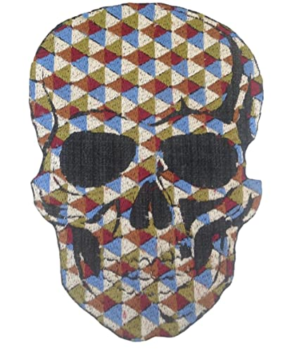 Amazon Mosaic Skull Embroidered Patch Iron On Sewing Skulls