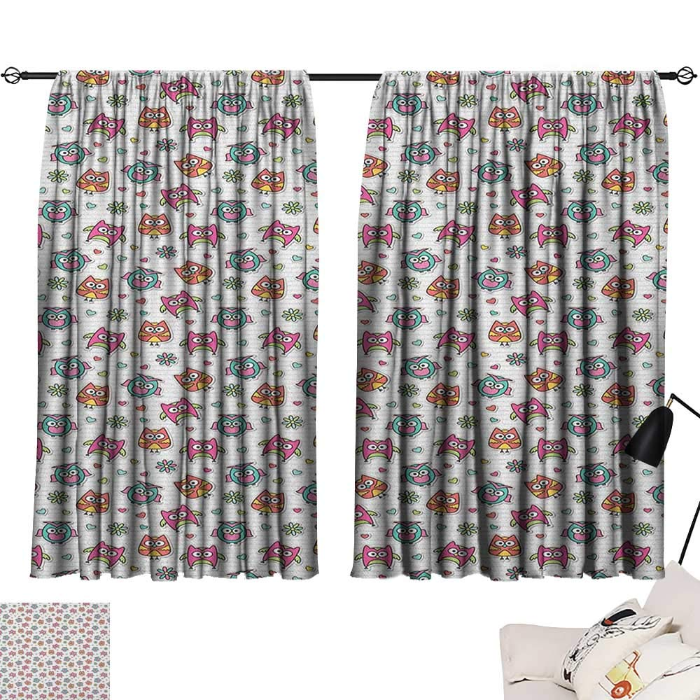 Pattern13 W63  x L72  Beihai1Sun Owls Indoor Darkening Curtains Lively colord Fun Kids Cartoon Happy Mascots colorful Pattern with Circles and Dots Curtain for Bedroom Multicolor W63 x L45