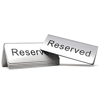 Amazon.com: Letrero para mesa Reservado 4,75x1,75 - Paquete ...