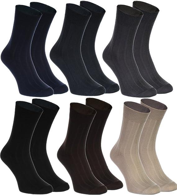 6 pares de calcetines elegantes, rayas, de algodón para los hombres, producidos en