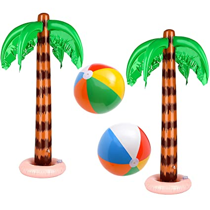 1 Pcs 90cm Inflatable Blow Up Hawaiian Tropical Coconut Trees Beach Party Balloon Decor Toy Supplies Pool Accessory Festive & Party Supplies