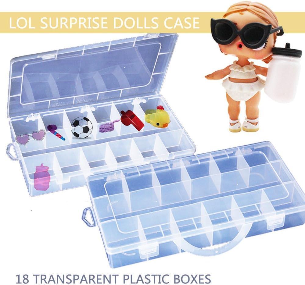 JIUZHOU Best Online Tienda de Juguetes 18 Compartimentos Caja de Almacenamiento de Juguetes Accesorios para muñecas LOL Sorpresa: Amazon.es: Hogar
