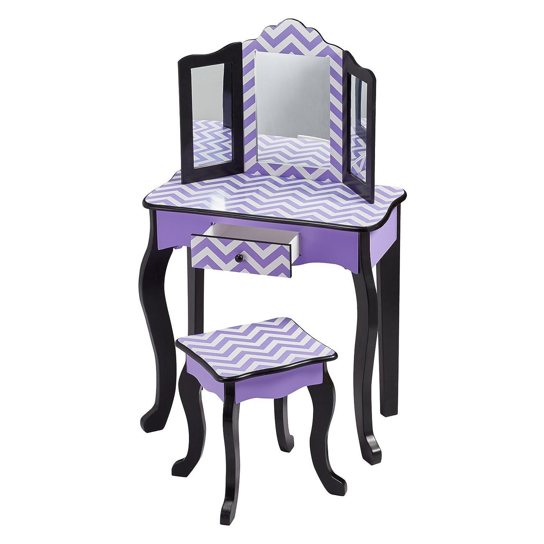 Amazon Teamson Kids Fashion Prints Purple Chevron Wooden Vanity Table  U0026 Stool Set Toys U0026 Games Sc 1 St Amazon