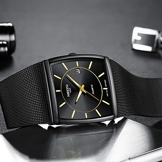 Amazon.com: Mens Watches Business Mesh Strap Analog Quartz Wrist Watch with Date and Luminous Square Watch Black: Watches