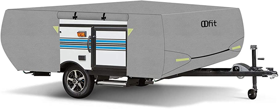 14/' Rip-Stop Anti-UV Folding Camper Trailer RV Cover with Adhesive Repair Patch OOFIT 4 Layers Pop-up Camper Cover 12/'