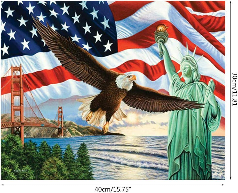 RUINAIER Ruinaer Statue de la Libert/é USA DIY 5D Peinture Diamant Point de Croix Kit Strass D/écoration de Maison Artisanat