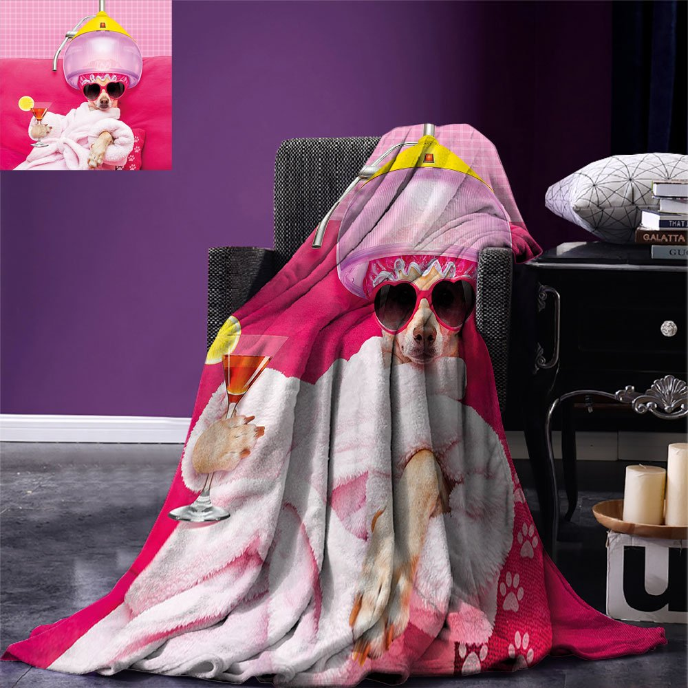 smallbeefly Funny Custom printed Throw Blanket Chihuahua Dog Relaxing and Lying in Wellness Spa Fashion Puppy Comic Print Velvet Plush Throw Blanket Magenta Baby Pink