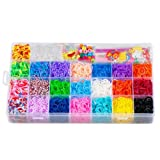 STSTECH Colorful Loom Kit-5600 Rubber Bands, 22 Colors, 1 Loom, 2 Y-Shape Mini Looms, 1 Big Hook, 6 Small Hook, 4 Packs S-Clips(200pcs), 1 Pack Silicon Charms, Crystal-like Charms, Beads