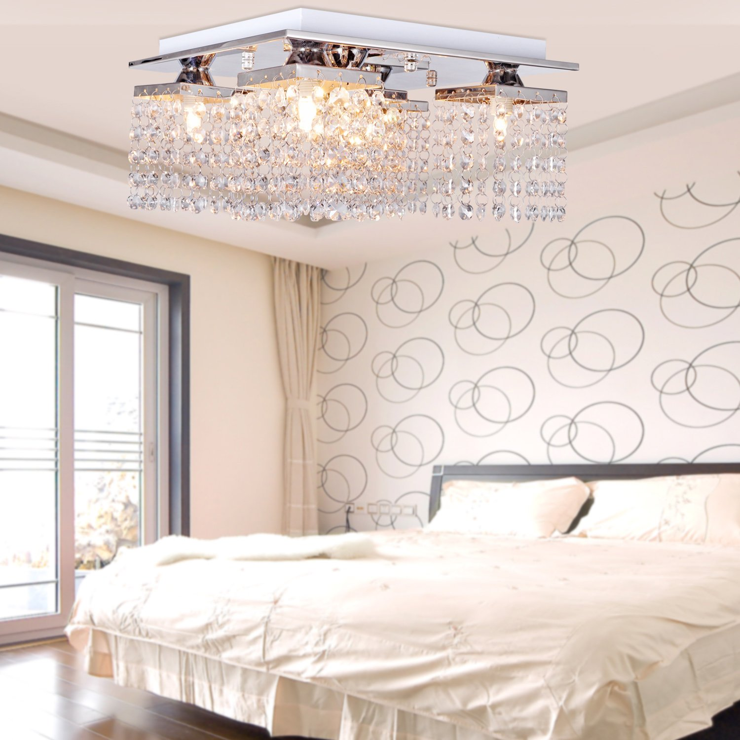 Y&LModern/Contemporary Crystal Ceiling Light with 5 lights Chrome Flush Mount H=8'' W=12'' L=12''