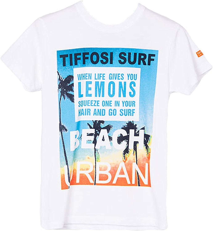 Tiffosi - Camiseta de manga corta - Cuello redondo - para niño blanco 10 Años: Amazon.es: Ropa y accesorios