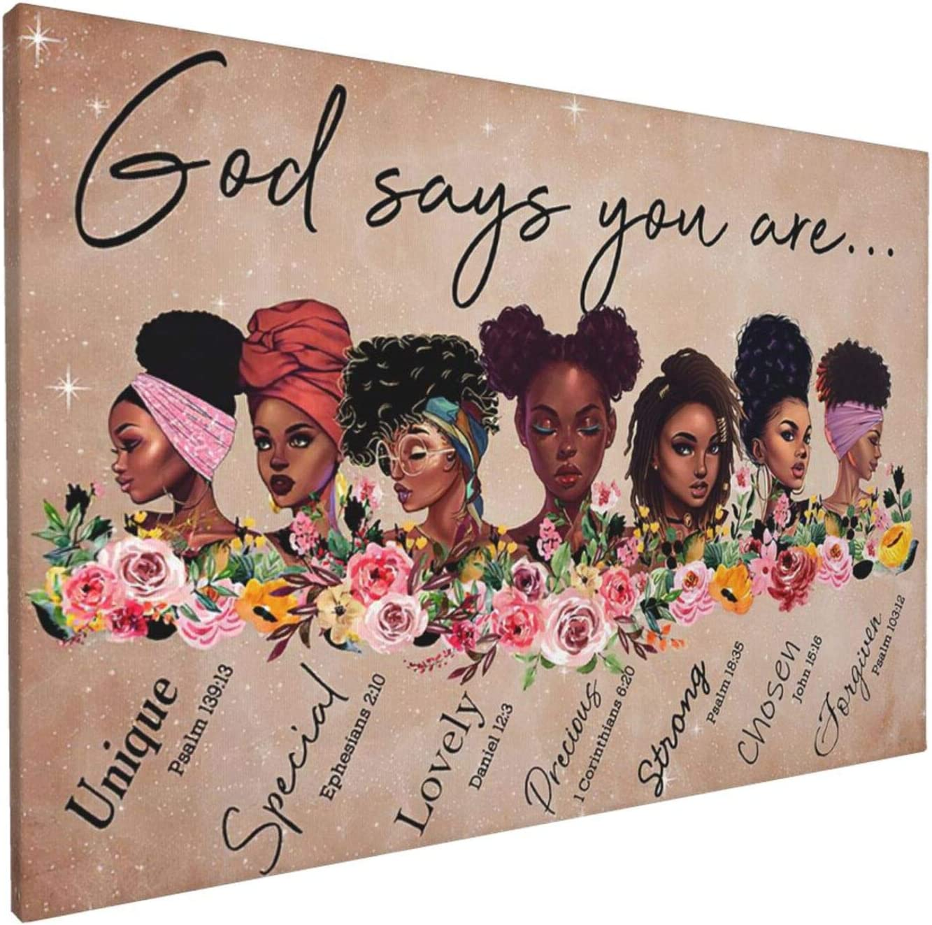 African American Wall Art Inspirational Canvas Print God Says You Are Painting Woman Black Art Home Decor For Bathroom Living Room Bedroom Framed Ready To Hang 12x18 Inch