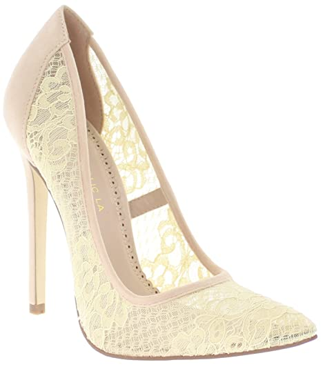 65c37a1c0 Shoe Republic Sheer Lace Pointed Toe Pumps Geno (Nude 6)