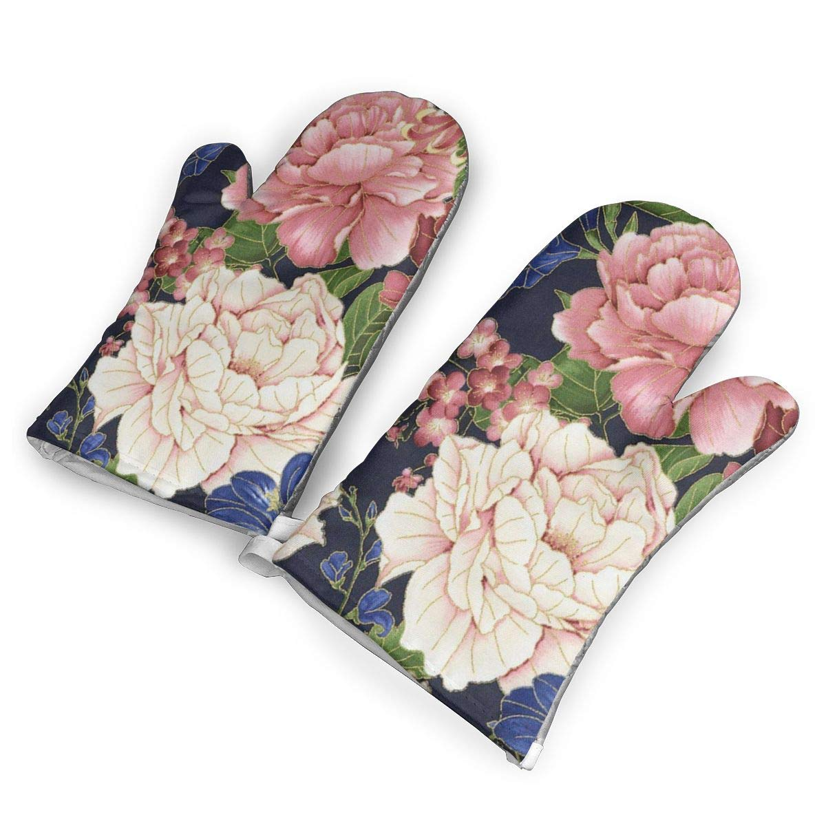 VshiXzno Sakura Chrysanthemums and Peonies Oven Mitts,Professional Heat Resistant to 500?? F,Non-Slip Kitchen Oven Gloves for Cooking,Baking,Grilling,Barbecue Potholders