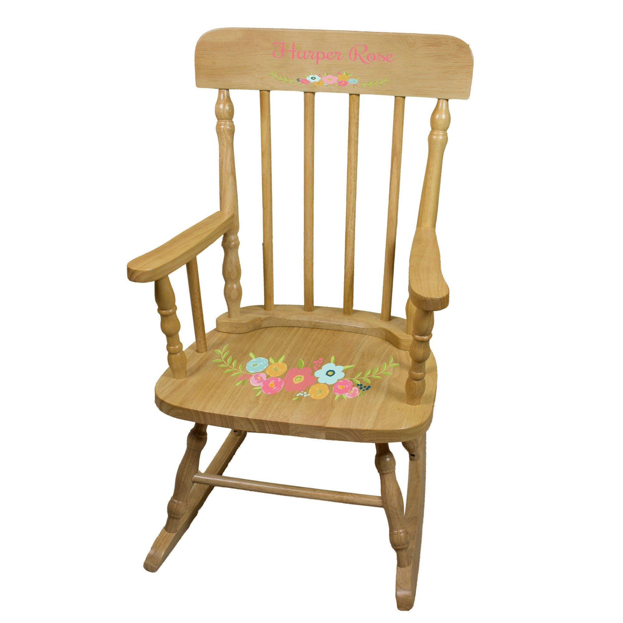 MyBambino Personalized Spring Floral Natural Wooden Childrens Rocking Chair