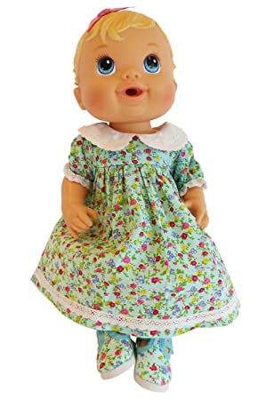 Frilly Lily Baby Alive Doll Clothes Blue Flower Dress And Shoes Set