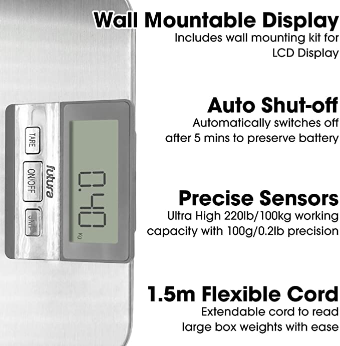 SOULONG Balance Postale /Électrique avec /Écran LCD R/étro-/éclairage Balance de Poste avec Grande Plate-forme en Acier Inoxydable Capacit/é de 150kg//300kg