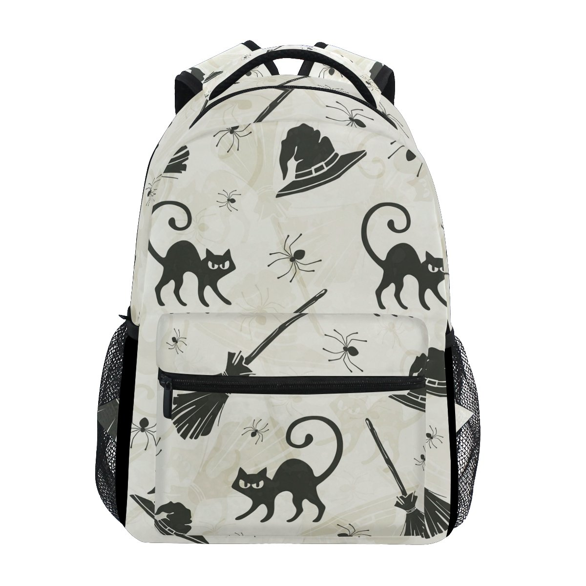 GIOVANIOR Halloween Cats Brooms and Witch Hats Backpack School Bag Bookbag Hiking Travel Rucksack