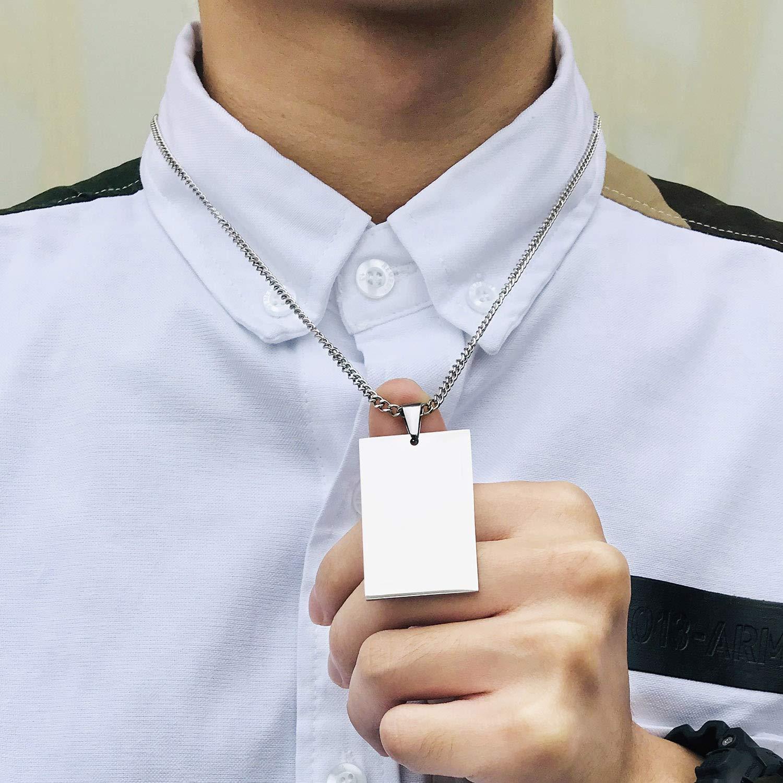 VIBOOS Collar Colgante Personalizado con Etiqueta De Perro Fecha//Texto//im/ágenes De Grabado Collar Acero Inoxidable para Hombres Mujeres Ni/ños Ni/ñas Paquete con Cadena Ajustable Llavero Silenciador.