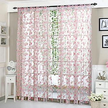 Fantastisch Upxiang Romantische Blume Schiere Fenstervorhang, Vorhang Tüll,  Fensterbearbeitung, Voile Tüll Vorhang Schlaufen Transparent