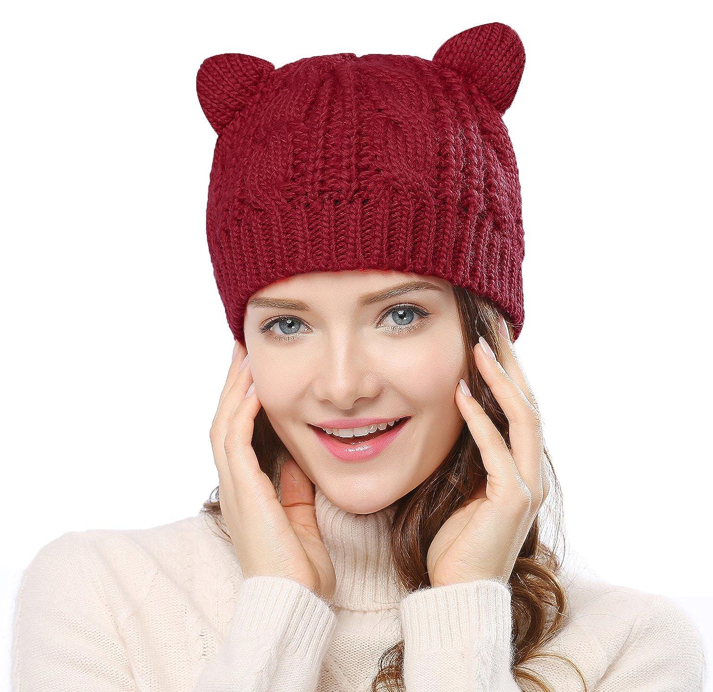 Bellady Women's Hat Cat Ear Crochet Braided Knit Caps Beige ZXG00000313