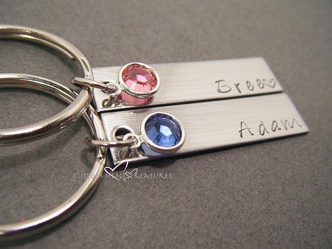 Birthstone Keychains Custom Name Keychains Amazon Com