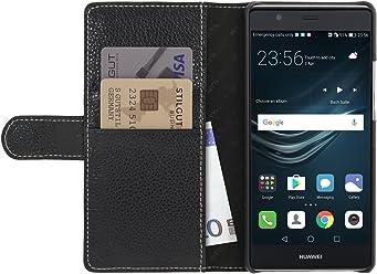 StilGut Talis Case con Tasca per Carte, Custodia in Pelle Cover per Huawei P9 Plus. Chiusura a Libro Flip-Case in Vera Pelle Fatta a Mano, Nero