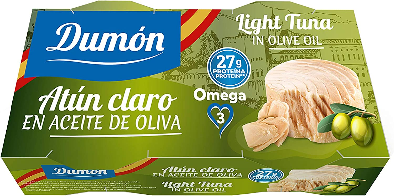 DUMON - NUEVO 30 packs de 2 unidades de 80g cada una de Atun Claro en Aceite de Oliva en Conserva. Atun Enlatado Alto en Proteína y Omega 3. Pescado ...