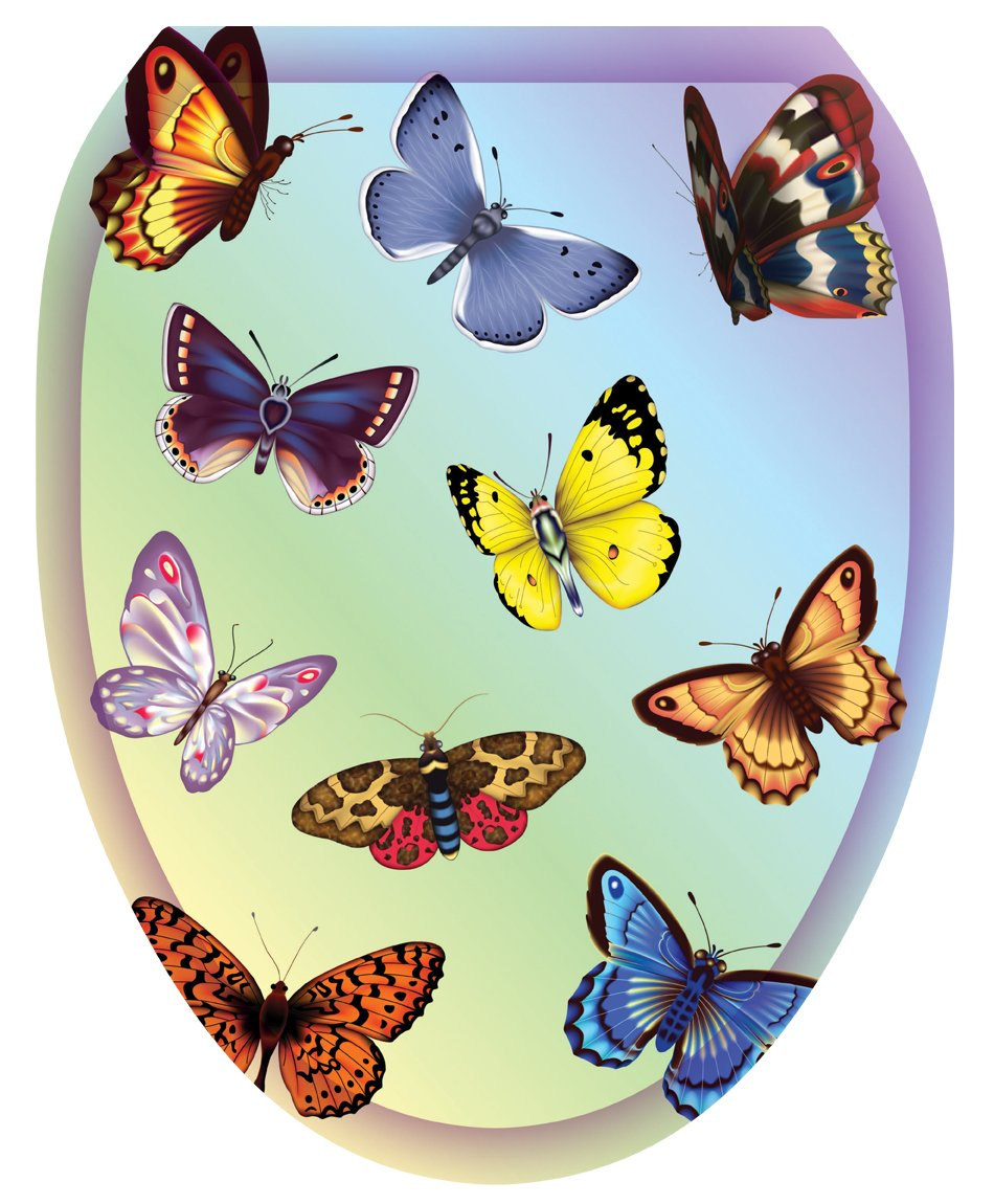 Toilet Tattoos TT-1022-O Butterfly Dreams Decorative Applique For Toilet Lid, Elongated