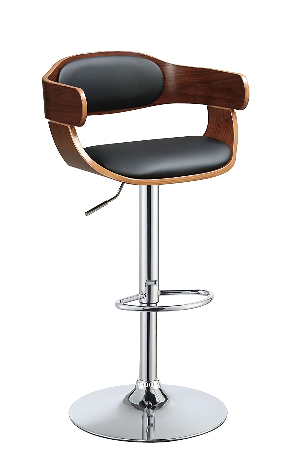 Major-Q 9092421 White PU Walnut Finish Swivel Adjustable Stool
