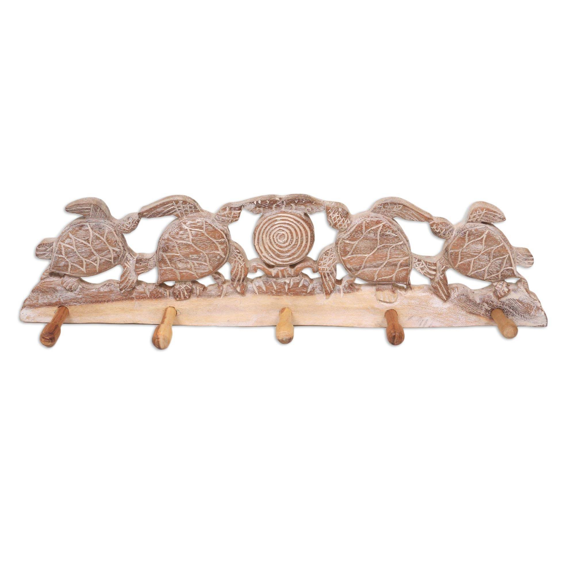 NOVICA Animal Themed Wood Wall Mounted Coat Hanger, Brown and White, Turtle Bay Beach'