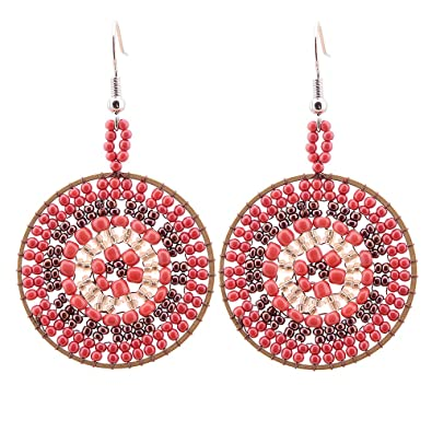 d2b44f6a1 Red Beads Dangle Earrings for Women-CheersLife Fashion Jewelry Handmade  Round Multi-Colored Seeds Gifts for Her: Amazon.co.uk: Jewellery