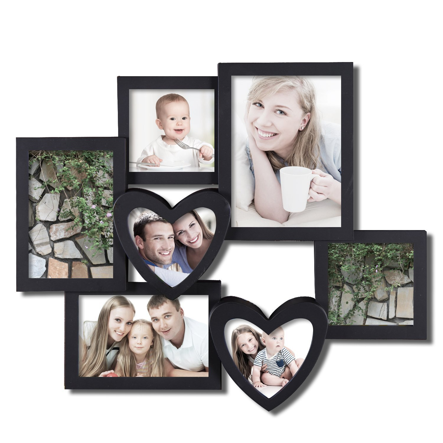 Amazon.com   Adeco 7 Openings Decroative Black Collage Picture Frame   Made  To Display Two 4x4 Heart Shape, Two 4x6, One 5x7 Photos   Collage Picture  Frames ...
