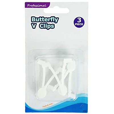 """Set of 3 White EZ Quick Snap Replacement Butterfly Clips for Swimming Pool Pole Attachments 2\"""" : Garden & Outdoor [5Bkhe1907222]"""