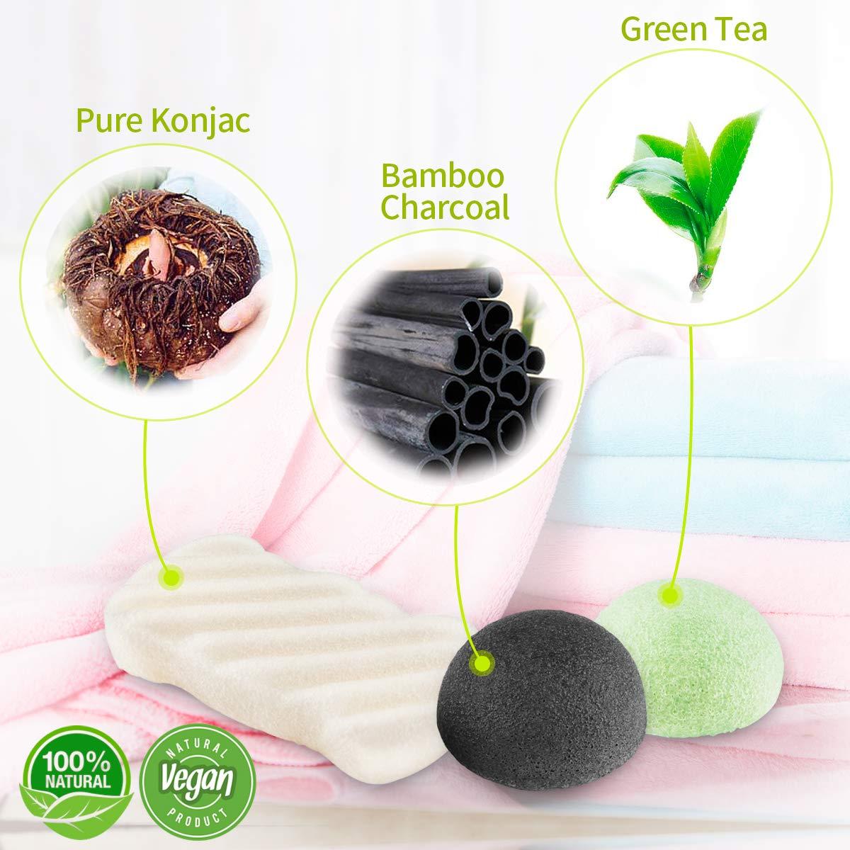 Konjac éponge visage, Morpilot 100% éponge naturelle de nettoyage Gommage du visage, durable Idéal, végétalien pour Normal, peau sensible, peau grasse et acnéique