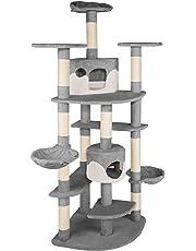 TecTake Arbre à chat griffoir grattoir geant   2 grottes   XXL 204cm - diverses couleurs au choix - (gris-blanc   no. 402109)