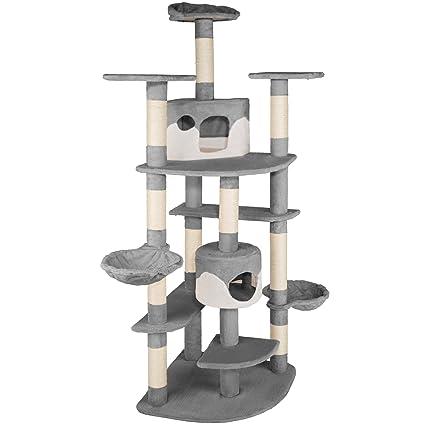 prix le plus bas dernière mode braderie TecTake Tiragraffi per gatti   204 cm   sisal albero gatto gioco    -disponibile in diversi colori- (Grigio / Bianco   No. 402109)